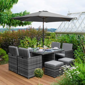 GARDEN FURNITURE EARLSWOOD CELIA 4 SEAT CUBE SET GREY