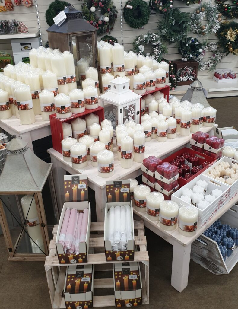 Christmas candles and wreaths at earlswood garden centre guernsey
