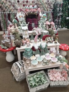 magical christmas theme with gonks, fairies, woodland, mushrooms at earlswood garden centre guernsey