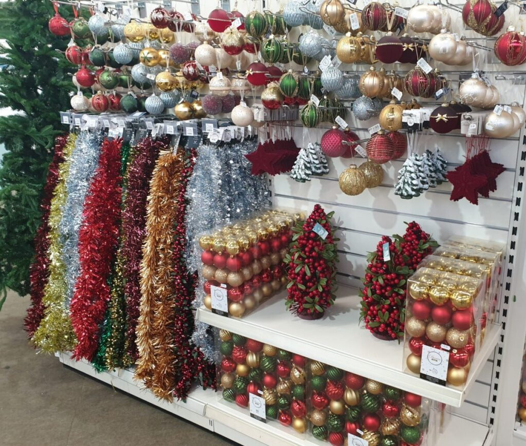 traditonal christmas baubles and tinsel at earlswood garden centre guernsey